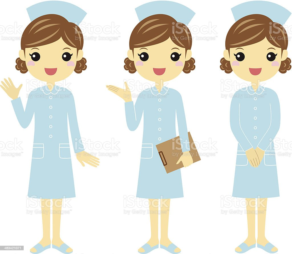 Nurse with different poses royalty-free stock vector art
