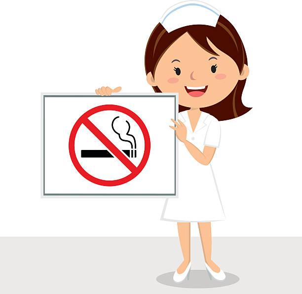 ilustrações, clipart, desenhos animados e ícones de enfermeira com placa de não-fumantes - enfermeira