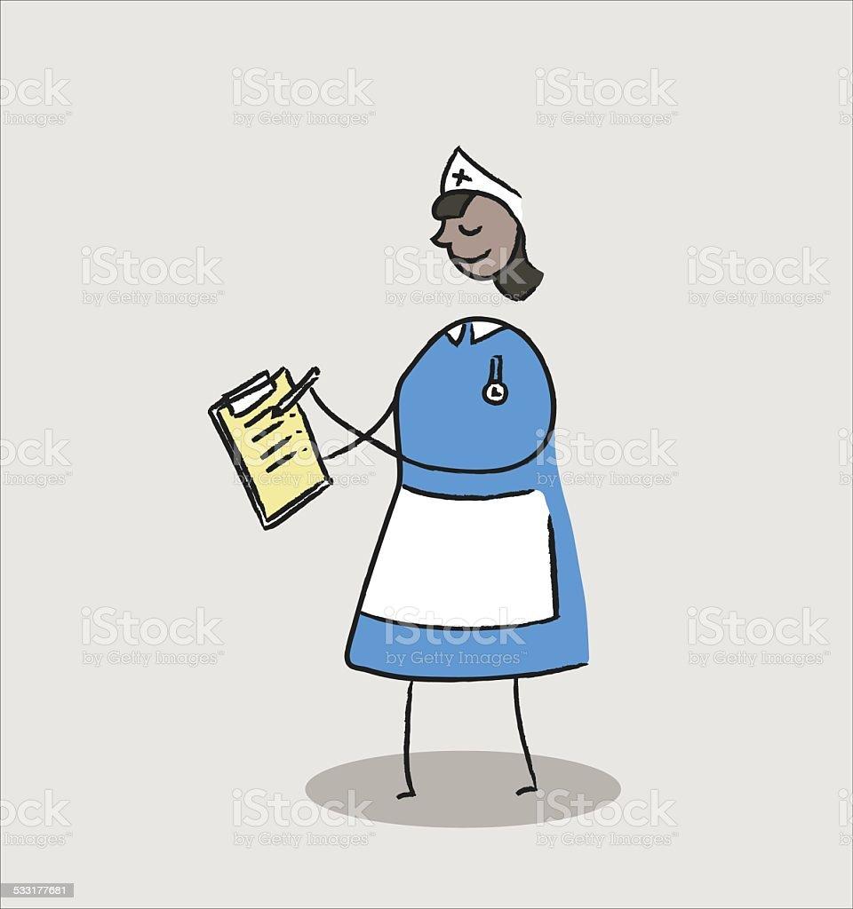Nurse with patient notes vector art illustration