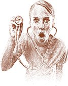 Etching illustration of nurse with surprised expression.