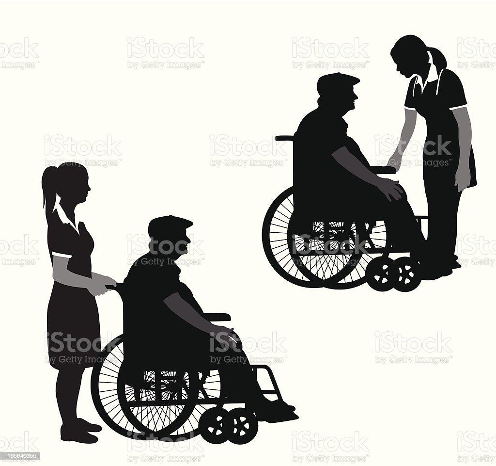 Nurse'n Elderly Vector Silhouette royalty-free nursen elderly vector silhouette stock vector art & more images of adult