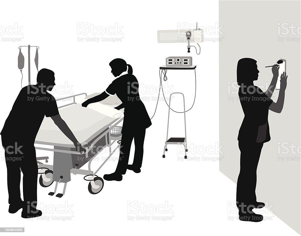 Nurse'n Orderly Vector Silhouette vector art illustration