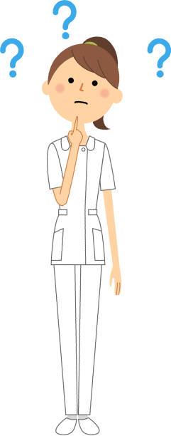 ilustrações, clipart, desenhos animados e ícones de enfermeira, pergunta - enfermeira