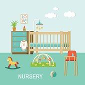 Nursery interior.Flat style vector illustration