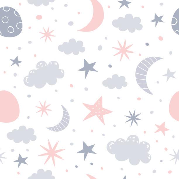 ilustrações, clipart, desenhos animados e ícones de padrão de berçário - bebês