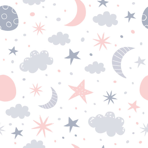 nursery pattern Nursery baby seamless pattern. Children vector illustration. bedroom patterns stock illustrations