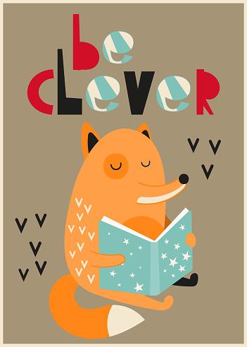 nursery poster cute fox reads a fairy tale