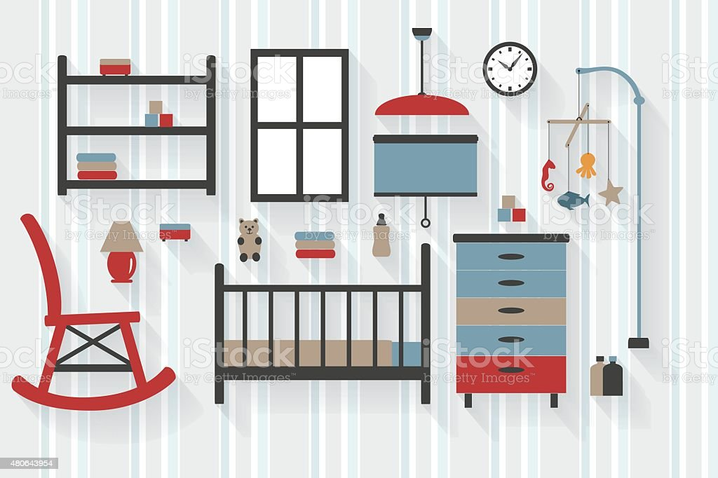 Nursery Room Furniture With Baby Cot And Rocking Chair Stock
