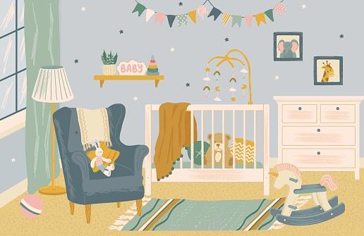 Nursery room interior hand drawn vector illustration. Home modern interior design. Newborn child room furniture and accessories. Baby crib, chair, kids toys, playground