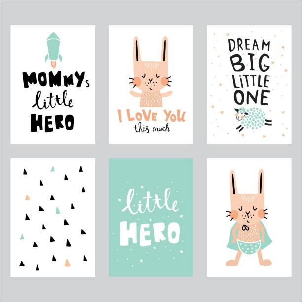 ilustrações de stock, clip art, desenhos animados e ícones de nursery set - super baby