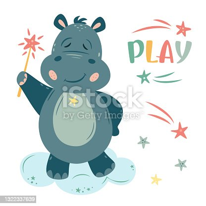 istock Nursery Vector illustration in cartoon style. Hippo wizard with a magic wand and stars. 1322337639