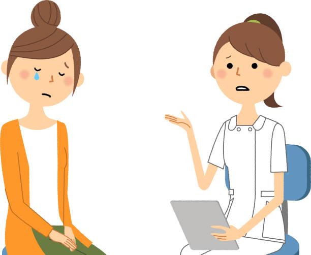 看護師・相談 - 泣く点のイラスト素材/クリップアート素材/マンガ素材/アイコン素材