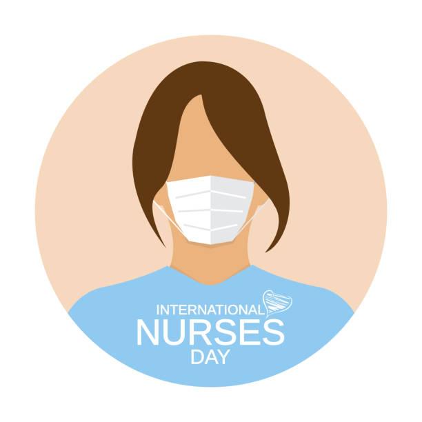illustrations, cliparts, dessins animés et icônes de icône de jour d'infirmières. femme avec le masque médical de visage. vecteur - aide soignant