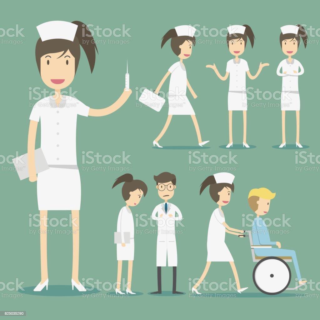 Conjunto de caracteres de diseño plano de enfermeras. - ilustración de arte vectorial