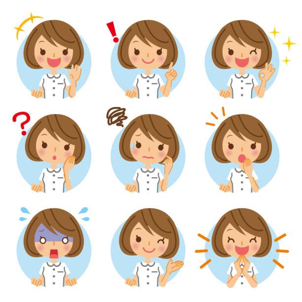 illustrazioni stock, clip art, cartoni animati e icone di tendenza di nurse's icon collection. - solo giapponesi