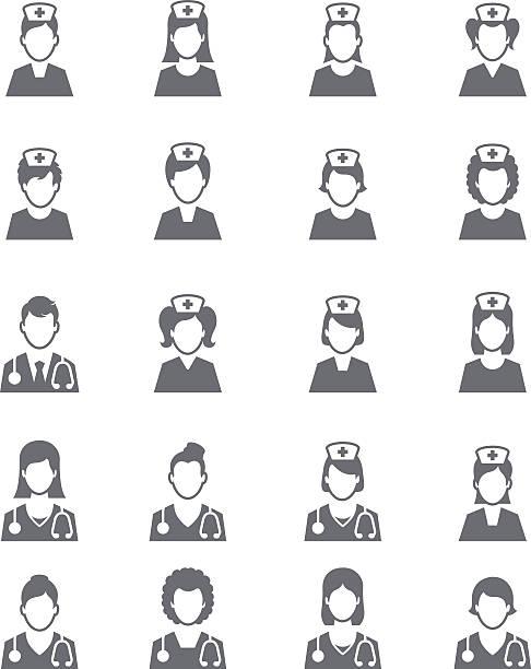 ilustrações, clipart, desenhos animados e ícones de nurses icons - enfermeira