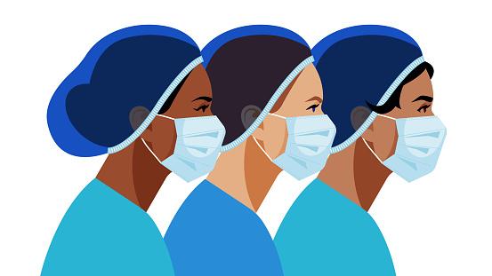 Nurses. Multi-ethnic nurses in medicine masks. Vector stock illustration on a white background.