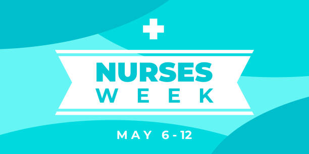 Nurses week. Vector horizontal banner for social media, Insta. National nurses day is celebrated from may 6 to 12. Greeting abstract illustration with text, ribbon and cross. Nurses week. Vector horizontal banner for social media, Insta. National nurses day is celebrated from may 6 to 12. Greeting abstract illustration with text, ribbon and cross nurses stock illustrations