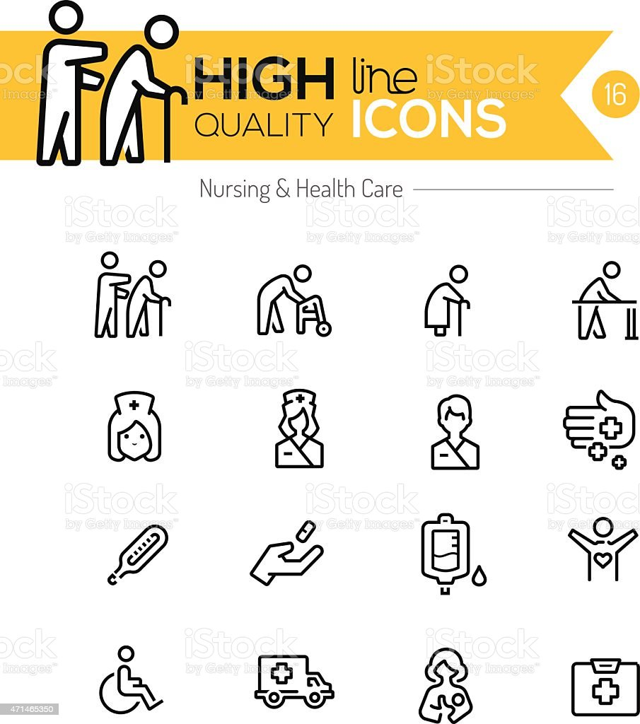 Nursing and healthcare line icons series vector art illustration