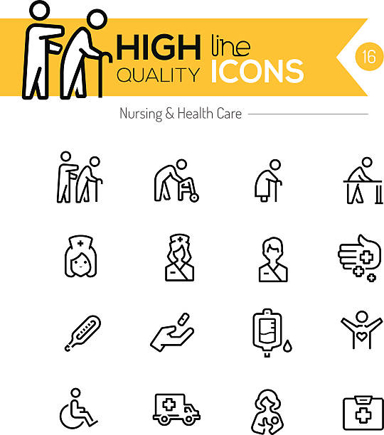 nursing and healthcare line icons series - geriatrics stock illustrations, clip art, cartoons, & icons