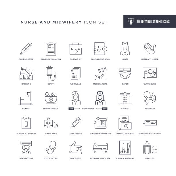 Nursing and Midwifery Editable Stroke Line Icons 29 Nursing and Midwifery Icons - Editable Stroke - Easy to edit and customize - You can easily customize the stroke with hospital bed stock illustrations