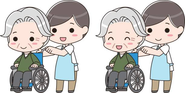 nursing care and caregiver - old man pajamas stock illustrations, clip art, cartoons, & icons