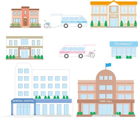 Nursing Care Facilities Related To Elderly — стоковая векторная графика и другие изображения на тему New City Hall