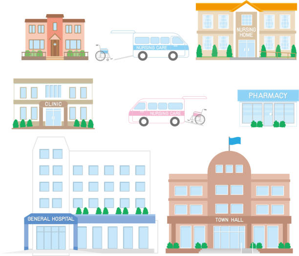 nursing care facilities related to elderly - doctors office stock illustrations, clip art, cartoons, & icons
