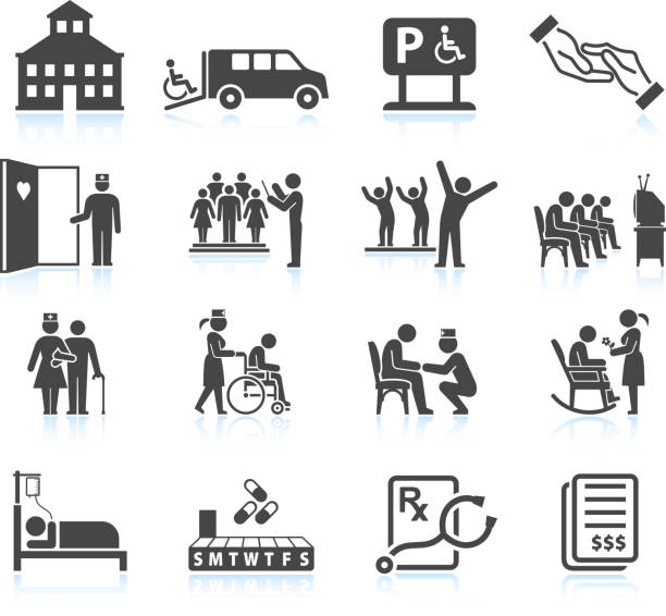 bildbanksillustrationer, clip art samt tecknat material och ikoner med nursing home and daycare adult care senior living icon set - active senior