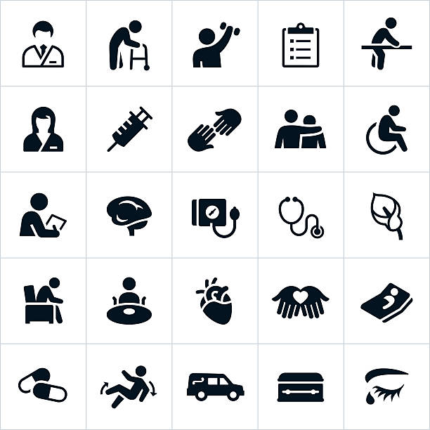 nursing home and hospice care icons - nursing home stock illustrations