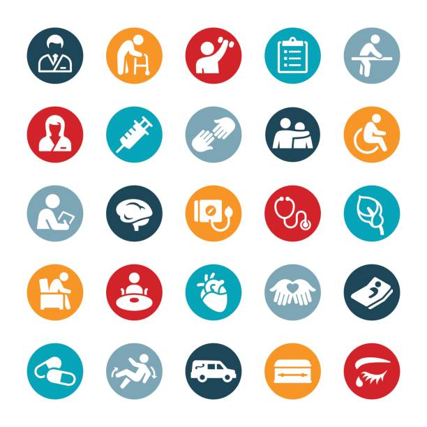 nursing home and hospice icons - nursing home stock illustrations