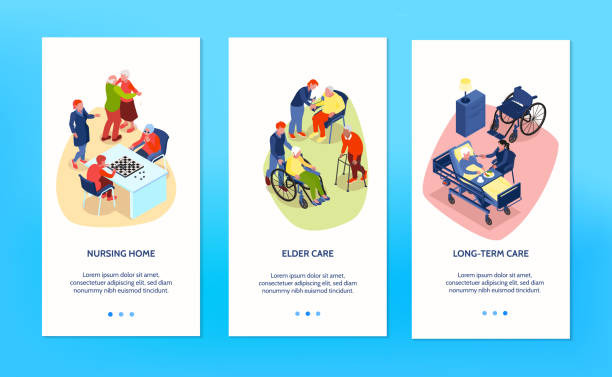 nursing home banners set - care home stock illustrations