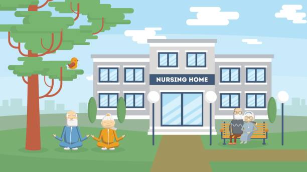 nursing home building exterior. - care home stock illustrations