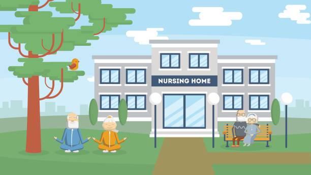 Pflegeheim Gebäudehülle. – Vektorgrafik