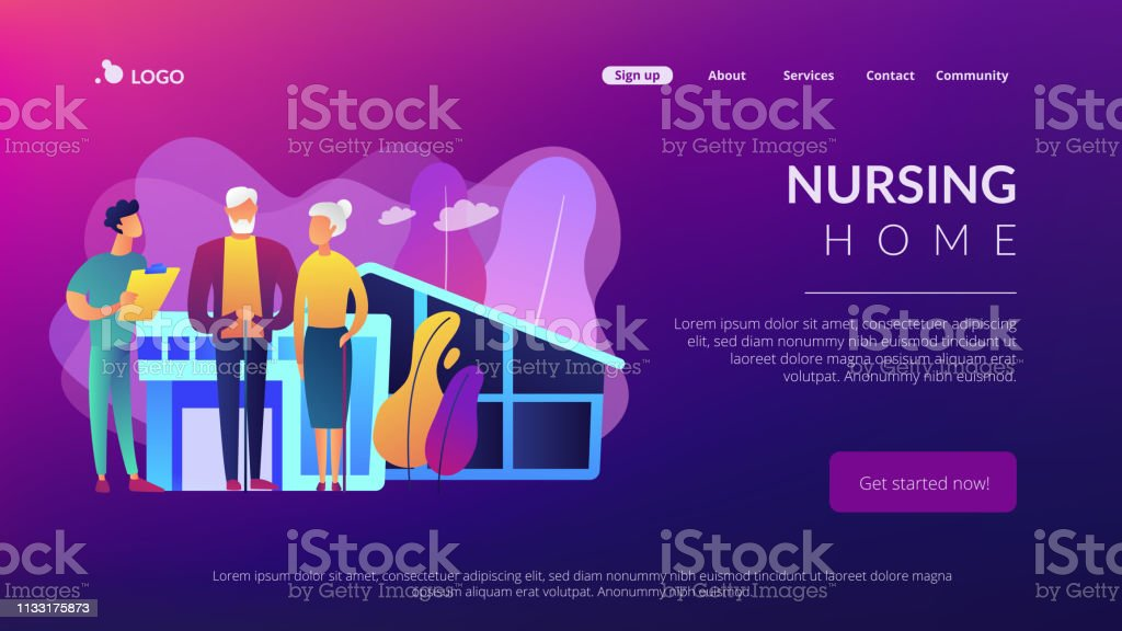 Nursing Home Concept Landing Page Stock Illustration
