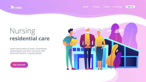 간호 홈 컨셉 랜딩 페이지. - nursing home stock illustrations