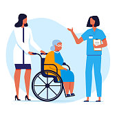 Nursing Home, Hospital Flat Vector Illustration. Doctor, Nurse and Old Lady in Wheelchair Cartoon Characters. Elderly People, Invalids Care, Disabled Help. Medical Staff, Physician and Intern