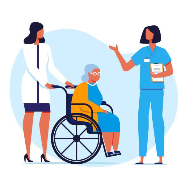 illustrazioni stock, clip art, cartoni animati e icone di tendenza di nursing home, hospital flat vector illustration - prendersi cura del corpo