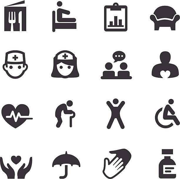 illustrations, cliparts, dessins animés et icônes de centre gériatrique icônes-série acme - gériatrie