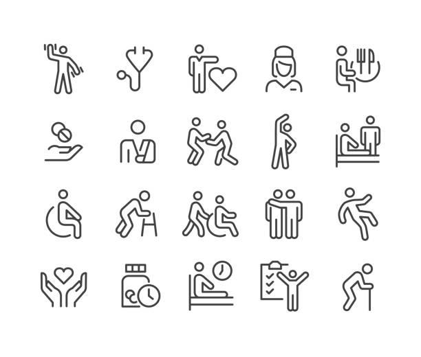 bildbanksillustrationer, clip art samt tecknat material och ikoner med sjukhem ikoner - classic line series - elderly care