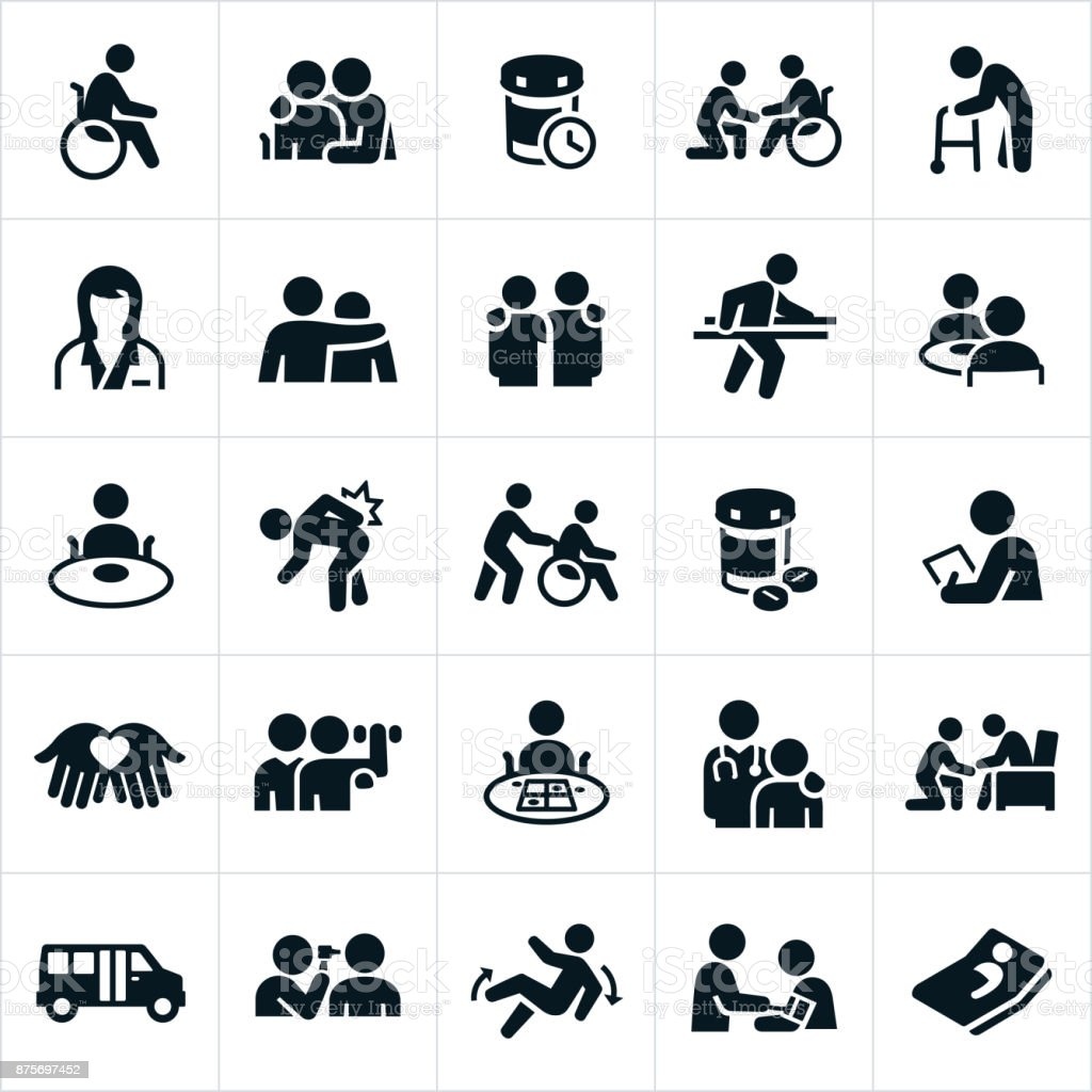 Nursing Home Icons vector art illustration