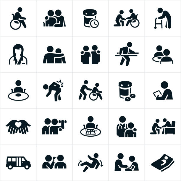 Nursing Home Icons An icon set of nursing home themes. The icons show many different patients in different environments and scenarios. physical therapy stock illustrations