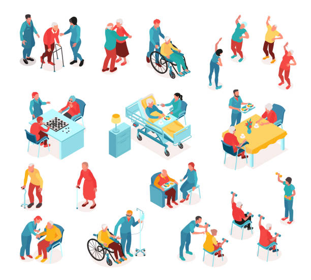 요양원 아이소메트릭 세트 - nursing home stock illustrations
