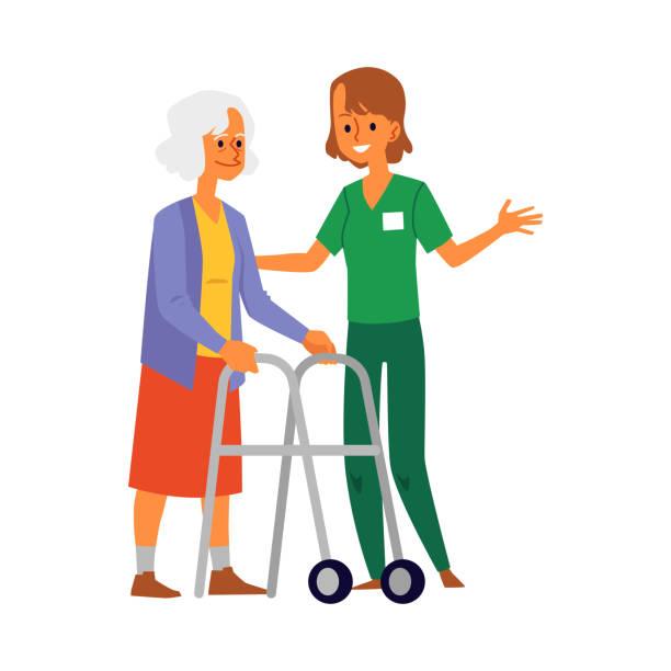 요양원 간호사 돌보는 노인 평면 벡터 삽화 격리. - nursing home stock illustrations