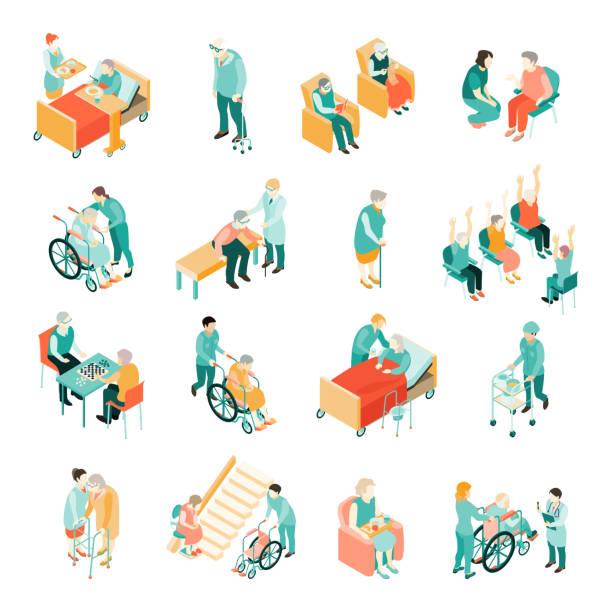 요양원 노인 세트 - nursing home stock illustrations