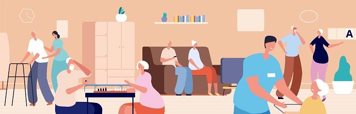 Nursing home. Old woman man living in senior house. Doctor nurse care elderly people. Happy retired, gerontology patient vector illustration