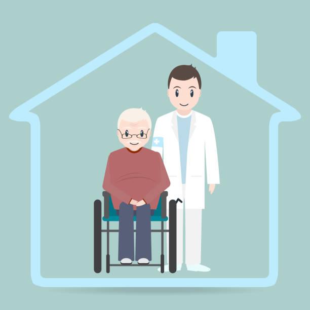 Nursing home sign icon, Doctor and elderly man sitting on wheelchair icon Nursing home sign icon, Doctor and elderly man sitting on wheelchair icon male nurse stock illustrations