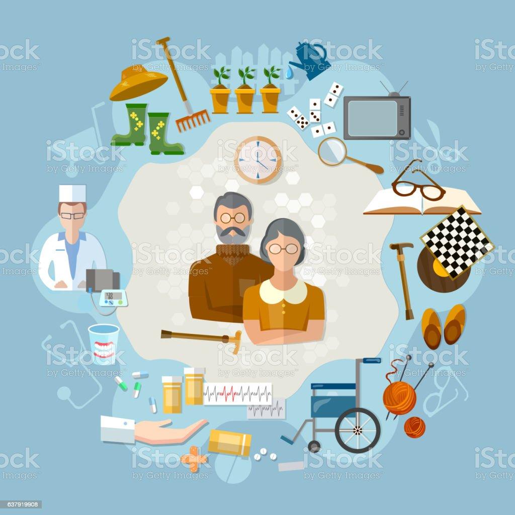 Nursing home,  social help elderly, medicine for old men vector art illustration