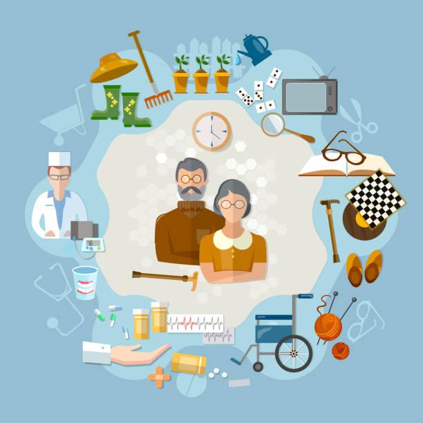 illustrations, cliparts, dessins animés et icônes de nursing home,  social help elderly, medicine for old men - gériatrie