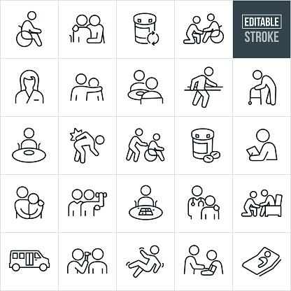 Nursing Home Thin Line Icons - Editable Stroke